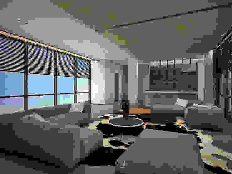 客廳規劃大片的落地窗 现代客厅設計點子、靈感 & 圖片 根據 竹村空間 Zhucun Design 現代風