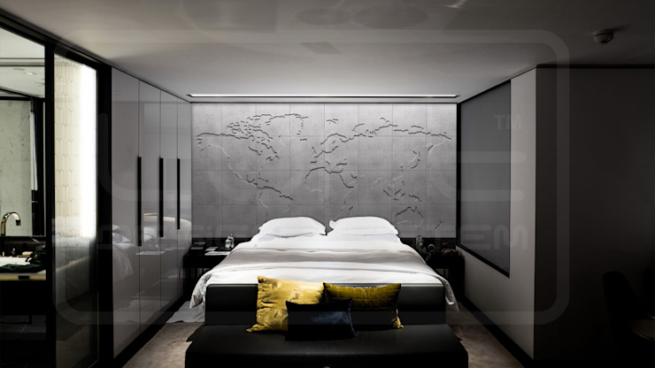 """Map of the world"" in Betonoptik Moderne Schlafzimmer von Loft Design System Deutschland - Wandpaneele aus Bayern Modern"