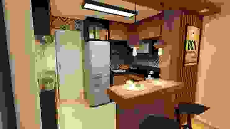 Cozinha aberta: Cozinhas pequenas  por Gelker Ribeiro Arquitetura | Arquiteto Rio de Janeiro