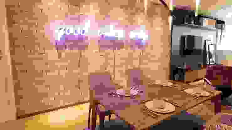 Parede de tijolinho e neon Salas de jantar industriais por Gelker Ribeiro Arquitetura | Arquiteto Rio de Janeiro Industrial Tijolo