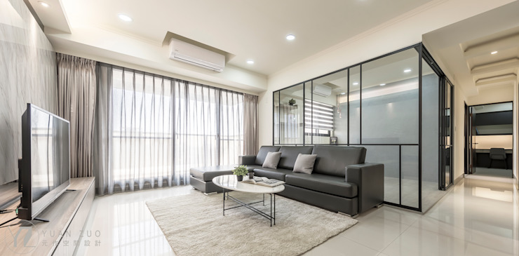 JIAN House 现代客厅設計點子、靈感 & 圖片 根據 元作空間設計 現代風