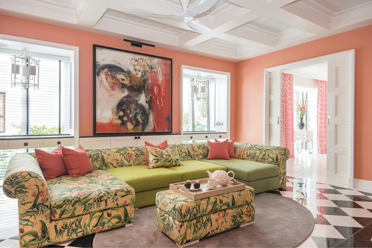 Coral in Living Room:  Living room by Design Intervention, Modern