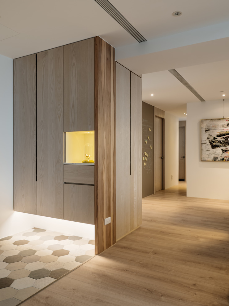 Scandinavian style corridor, hallway& stairs by 築川設計 Scandinavian