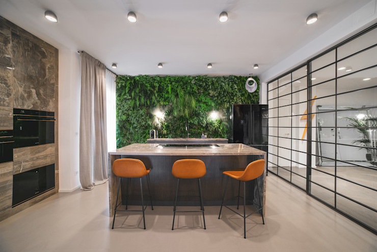 green wall of stabilized plants by MODO Architettura Eclectic