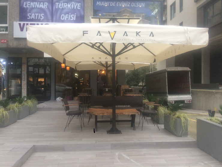 Akaydın şemsiye Balkon, Beranda & Teras Modern Aluminium/Seng White