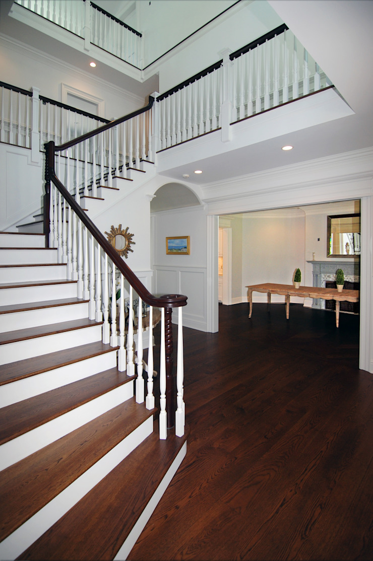 Custom Colonial Home, Westport CT by DeMotte Architects Colonial style corridor, hallway& stairs by DeMotte Architects, P.C. Colonial