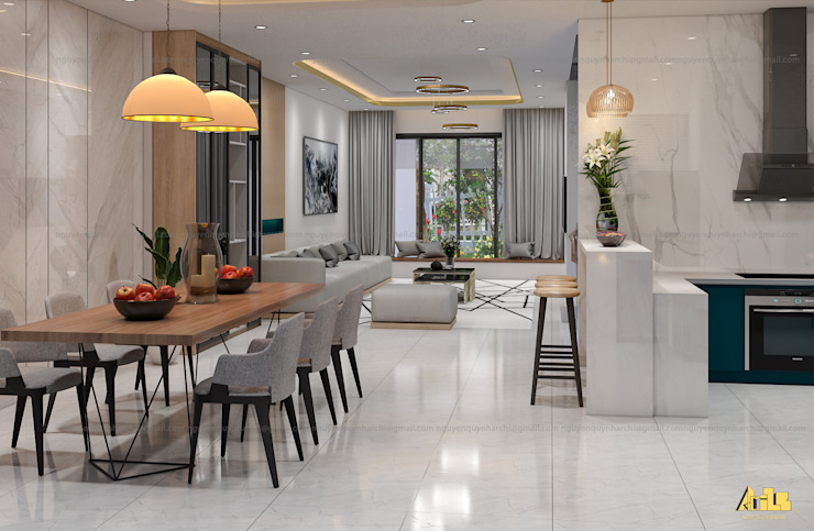 nội thất biệt thự phố Q2 Phòng ăn phong cách hiện đại bởi AcilB Design Hiện đại