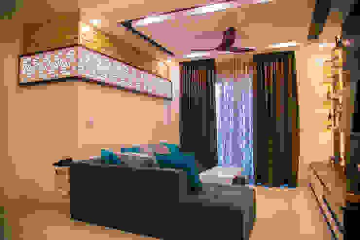3BHK Contemporary Home Modern Living Room by Modulart Modern