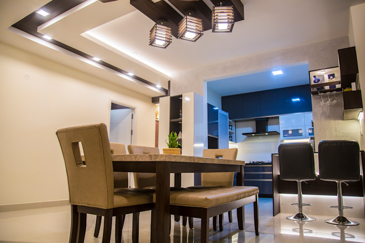 3BHK Contemporary Home Modern Dining Room by Modulart Modern
