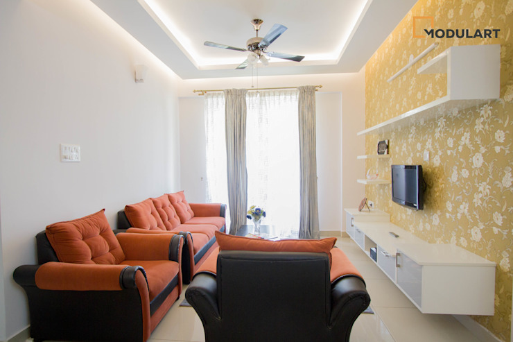2BHK Modern Home Modern Living Room by Modulart Modern