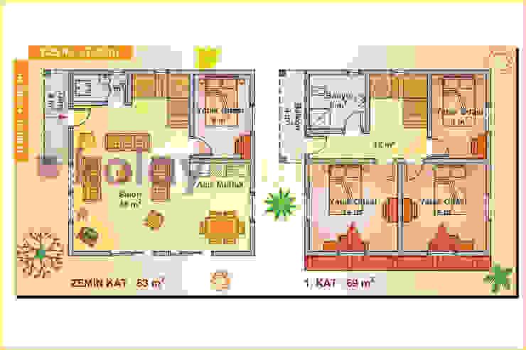 132 m2 İki Katlı Prefabrik Ev (4+1) Planı Kolay Prefabrik Evler İskandinav Orta Yoğunlukta Lifli Levha