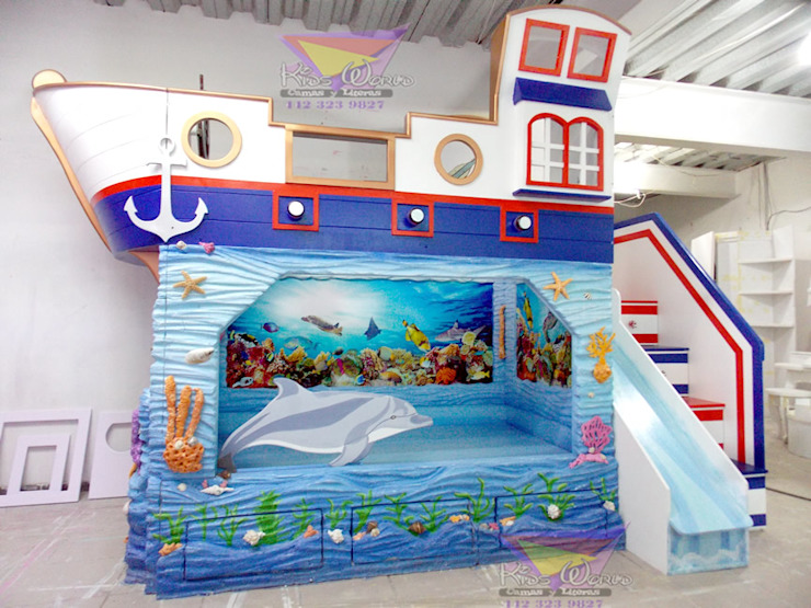 Impactante barco nautico de Kids Wolrd- Recamaras Literas y Muebles para niños Clásico Derivados de madera Transparente