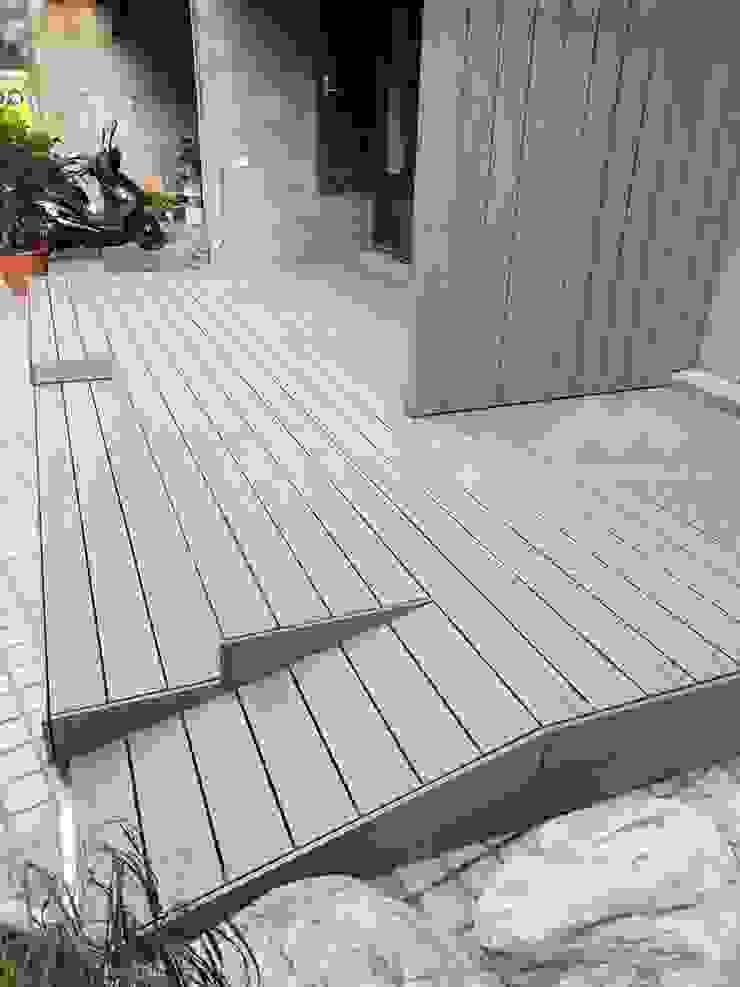 南港─入口木平台、隔牆、階梯與斜坡 (NewTechWood古木色) 根據 新綠境實業有限公司 北歐風 塑木複合材料