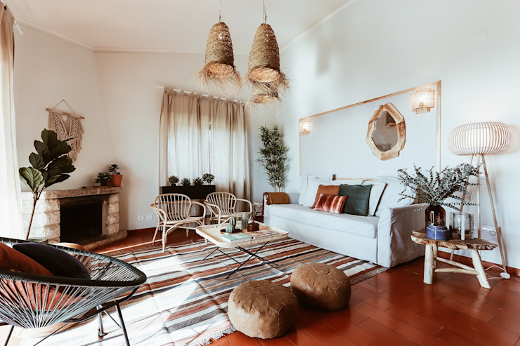 Rafaela Fraga Brás Design de Interiores & Homestyling 의  거실, 러스틱 (Rustic) 우드 우드 그레인