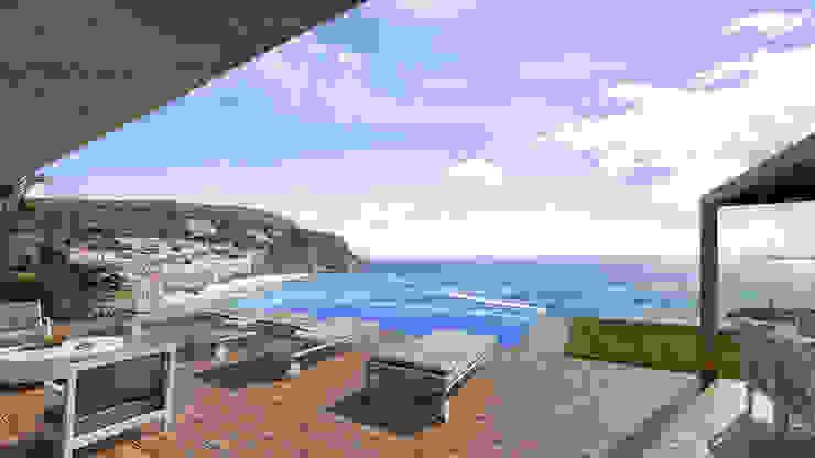 Traçado Regulador. Lda Infinity pool Concrete Wood effect
