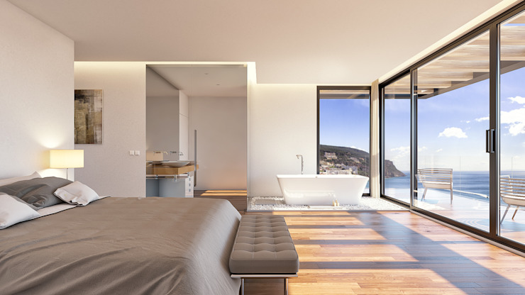 Traçado Regulador. Lda Dormitorios de estilo moderno Madera Blanco