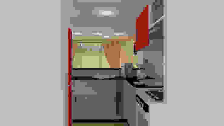 Render del espacio de la cocina de JV RVT Moderno Madera Acabado en madera