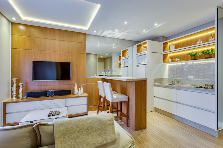 Studio Cozinhas minimalistas por Samantha Sato Designer de Interiores Minimalista MDF