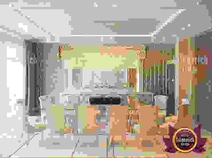 White and Gold Dining Room Interior Design by Luxury Antonovich Design