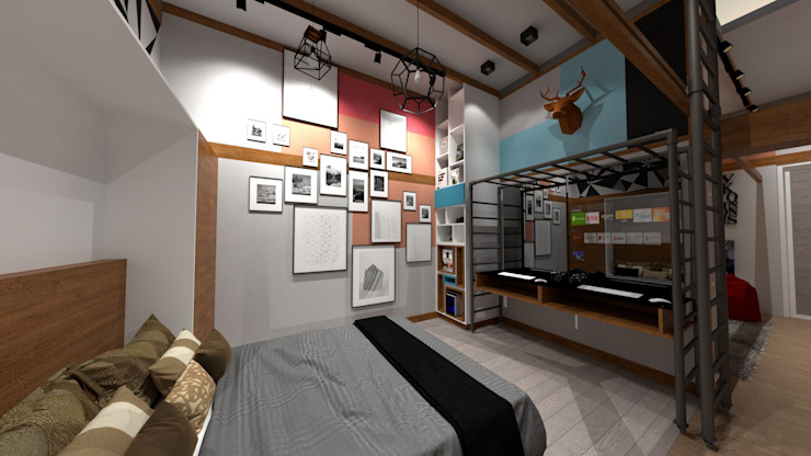 Dormitorio de Rodrigo León Palma Moderno Cerámico