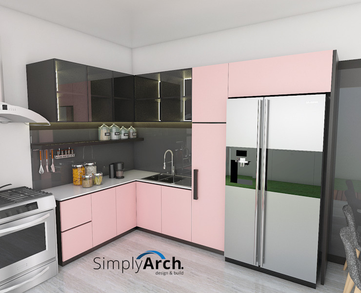 Dapur Dusty Pink Oleh Simply Arch. Minimalis Kayu Lapis