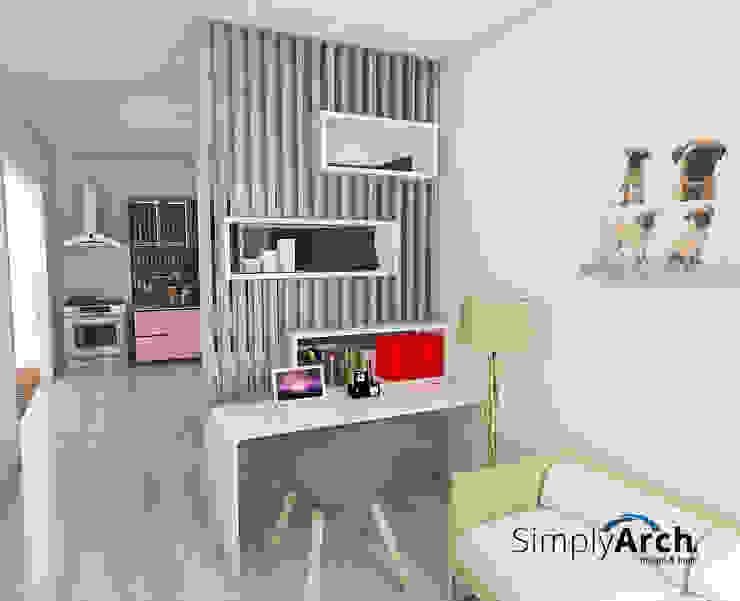 Partisi pembagi ruang makan dan ruang kekuarga Ruang Keluarga Minimalis Oleh Simply Arch. Minimalis