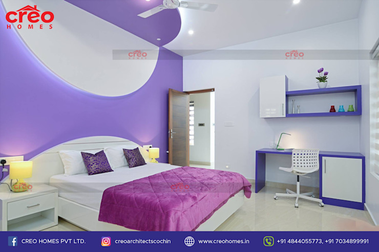 Interior Designers In Kochi Asian style bedroom by Creo Homes Pvt Ltd Asian