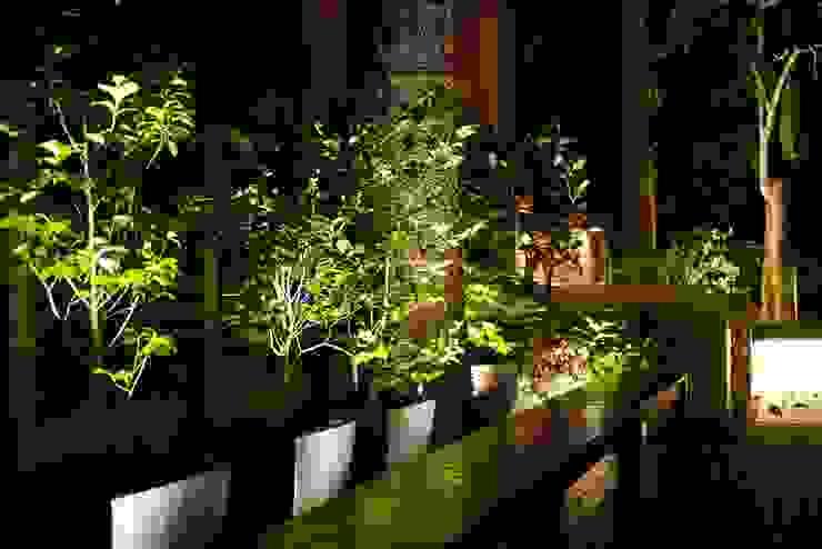 坐在長椅上享受夜晚微風徐徐 根據 大地工房景觀公司 熱帶風