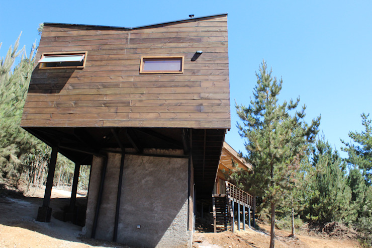 VIVIENDA EN FUNDO MILLACO Casas de estilo minimalista de Kimche Arquitectos Minimalista Madera Acabado en madera