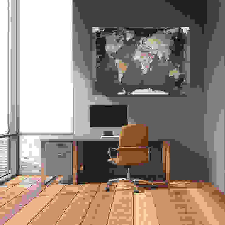 Weltkarte als Pinnwand : modern  von Lana KK®,Modern Baumwolle Rot