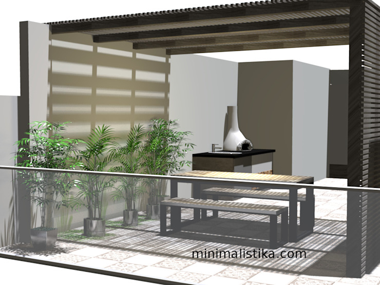 Minimalist balcony, veranda & terrace by Minimalistika.com Minimalist Solid Wood Multicolored