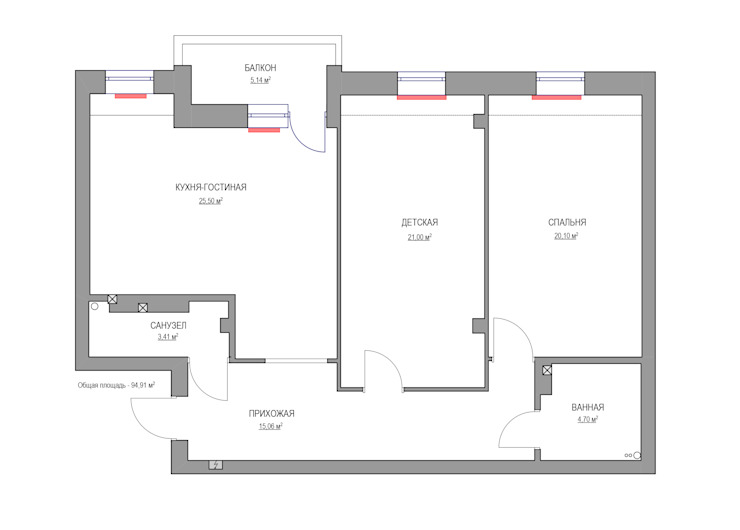 Moderne muren & vloeren van Дизайн Студия 33 Modern