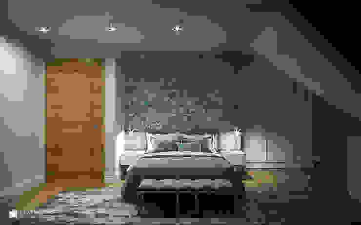 IMPRESJE Eklektyczna sypialnia od Ludwinowska Studio Architektury Eklektyczny