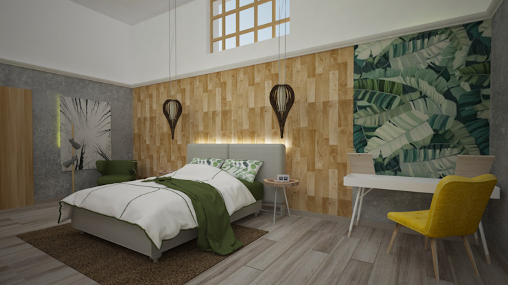 Rustic style bedroom by Armo Dezain Rustic Wood-Plastic Composite