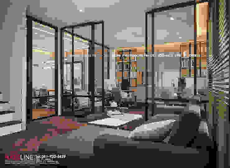 Interior design : ออกแบบตกแต่งภายใน Perspective3D (คุณคุณณัฐธยาน์) : ทันสมัย  โดย บริษัทแอคซิสลาย จำกัด, โมเดิร์น อลูมิเนียมและสังกะสี