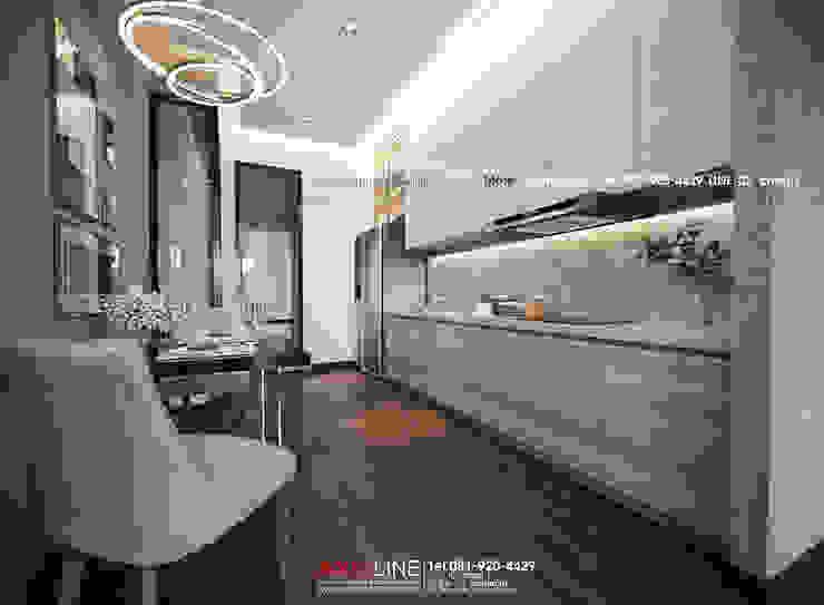 Interior design : ออกแบบตกแต่งภายใน Perspective3D (คุณคุณณัฐธยาน์) : ทันสมัย  โดย บริษัทแอคซิสลาย จำกัด, โมเดิร์น ไม้ Wood effect
