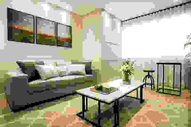 Área de estar em tons neutros:   por ZOMA Arquitetura,Moderno