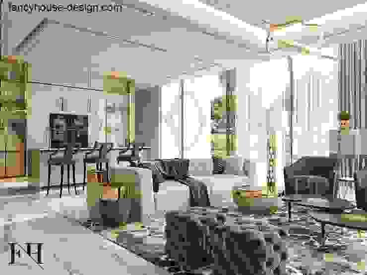 Fancy House Design Salones de estilo moderno Mármol Beige