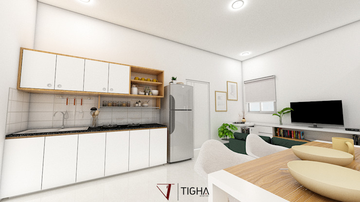 Interior Design TR Apartment: Dapur kecil  oleh Tigha Atelier, Minimalis