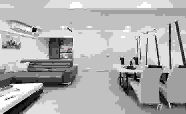 隱藏式滑門 现代客厅設計點子、靈感 & 圖片 根據 元作空間設計 現代風