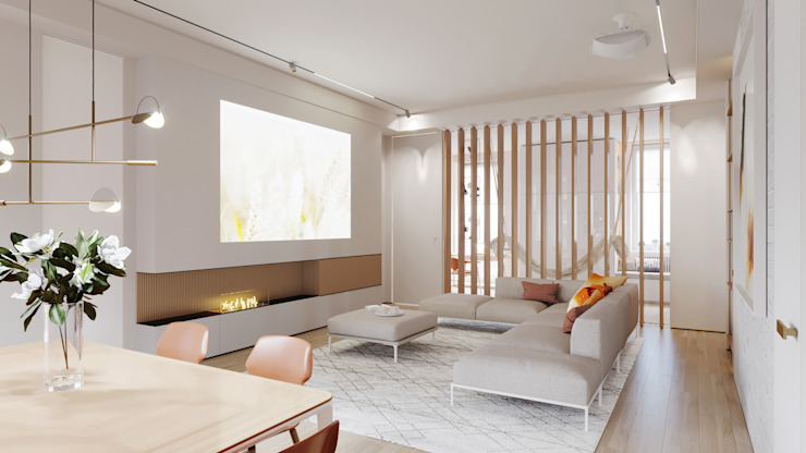 Suiten7 Living room Copper/Bronze/Brass White