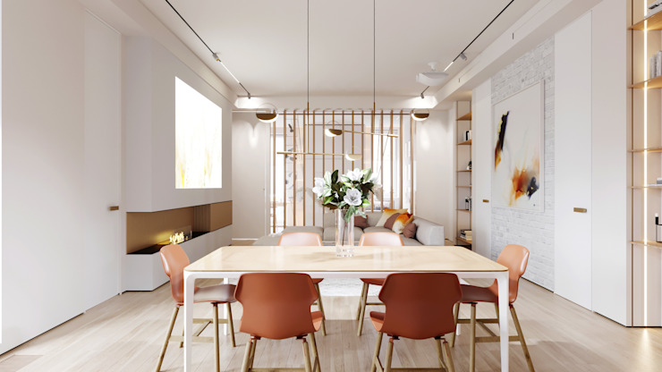 Suiten7 Industrial style dining room Copper/Bronze/Brass White