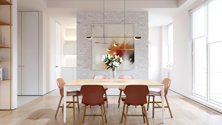 Suiten7 Industrial style dining room Bricks White