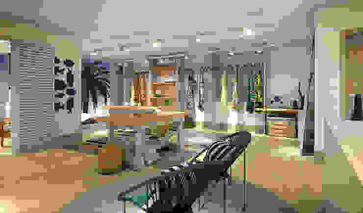 RAFE Arquitetura e Design Spazi commerciali in stile tropicale MDF Effetto legno