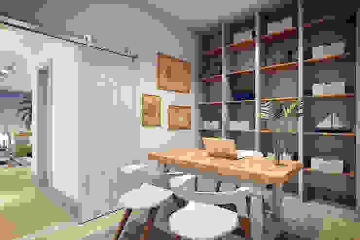 RAFE Arquitetura e Design Spazi commerciali in stile tropicale Legno Bianco