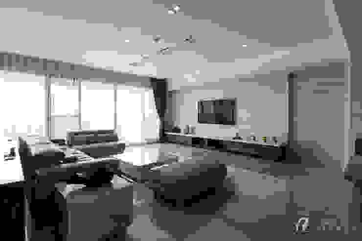 客廳 根據 元作空間設計 現代風 大理石