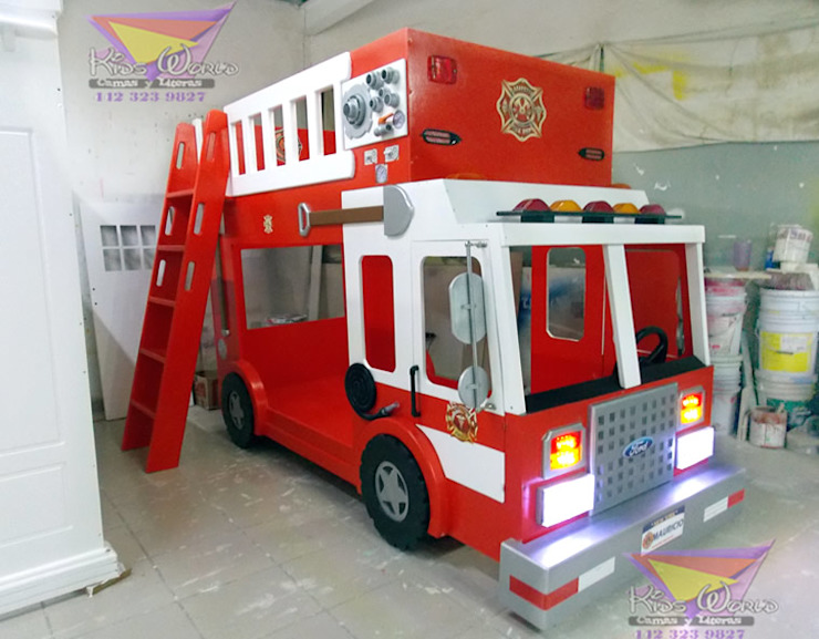 Formidable litera camión de bomberos de Kids Wolrd- Recamaras Literas y Muebles para niños Clásico Derivados de madera Transparente