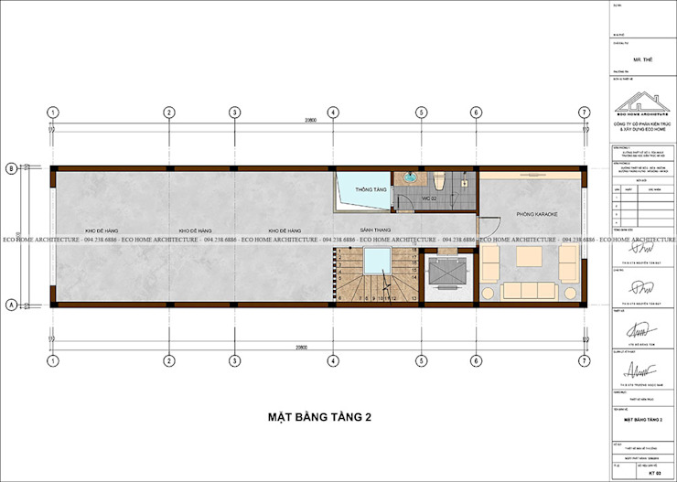 Mẫu nhà phố tân cổ điển kết hợp kinh doanh bởi Công ty CP kiến trúc và xây dựng Eco Home
