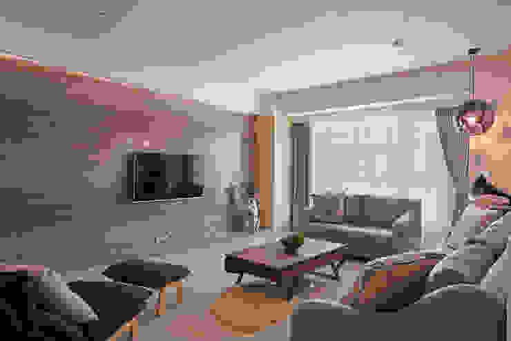 質地與紋理的表現 趙玲室內設計 现代客厅設計點子、靈感 & 圖片