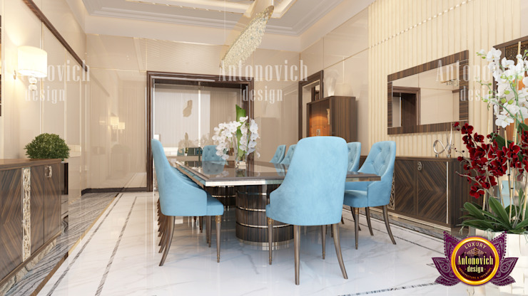 Modern Dining Room with Sophisticated Design by Luxury Antonovich Design